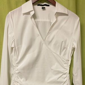 blouse with ruched on both sides